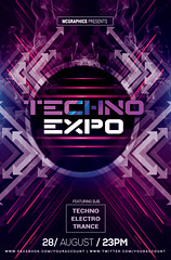 TECHNO EXPO (movingclays) Tags: adobe artist beatport colors dance dj dubstep edm electro festival flyer futuristic graphic guest house indie instagram itunes millennial model modern neon nightclub party psd rock soundcloud speaker techno template