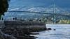 The Seawall (Sworldguy) Tags: stanleypark seawall vancouver walk lionsgatebridge bridge stone wall shoreline ocean westvancouver marine rocky harbour britishcolumbia bc canada landscape tourism beach spring evening