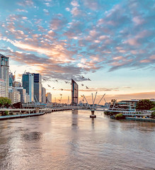 Sunrise Brisbane River and CBD, brilliant light (Lance # Australian photographer) Tags: brisbanecity queensland australia au clouds sunrise bridges buildings birds cityscape horizon sky water skyline morninglight colours oceania brilliantlight flickriver