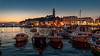 Rovinj Harbour at Night (Bernd Thaller) Tags: night evening nightshot bluehour rovinj istria croatia city sea boats church light artificiallighting street lamps dusk sunset skyline sky buildings boat water