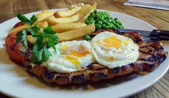 Gammon Steak with seasoned chips, garden peas, tomato and two fried eggs (Tony Worrall) Tags: add tag ©2018tonyworrall images photos photograff things uk england food foodie grub eat eaten taste tasty cook cooked iatethis foodporn foodpictures picturesoffood dish dishes menu plate plated made ingrediants nice flavour foodophile x yummy make tasted meal nutritional freshtaste foodstuff cuisine nourishment nutriments provisions ration refreshment store sustenance fare foodstuffs meals snacks bites chow cookery diet eatable fodder gardenpeas gammon steak seasoned chips garden peas tomato two fried eggs meaty meat