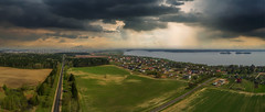 Aerial Panorama Minsk (free3yourmind) Tags: aerial panorama pano minsk belarus laparavichy xiaomi mi drone quadcopter road forest fields land lake clouds cloudy sunrays