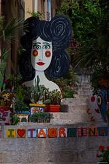 IMGP9856 Colored alleys of Taormina (Claudio e Lucia Images around the world) Tags: alley vicoli colored vase vasi ceramiche arte colori faccia statua gradini steps fiori colorati pentax pentax18135 pentaxk3ii