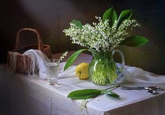 With a bouquet of lilies of the valley (Tatyana Skorokhod) Tags: liliesofthevalley flowers bouquet stilllife apple spring
