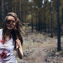 beyond me (Maria Nenenko) Tags: idea concept conceptual marinino marininoart fineart art portrait closeup blood film cinematic forest dark darkness surgut russia longhair woman beauty story red wind style mood melancholy terror horror danger conceptphotos