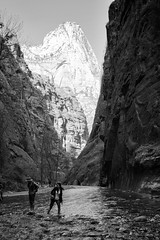 Hiking The Narrows (dorameulman) Tags: dorameulman utah zionnationalpark landscapephotography landscape river hiking mountains monochrome blackandwhite haiku poem canon7dmark11 canon people