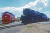 UNION PACIFIC/MOUNTAIN DIESEL--3985  (on r), 1510 at Laramie, WY. 1 of 2 (milantram) Tags: unionpacific unionpacificsteam up3985 bigsteamlocos steamlocomotives steam mountaindiesel f7s