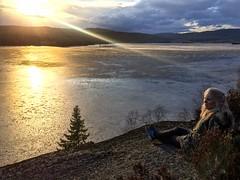 View over icy lake (bjorbrei) Tags: lake ice sun backlight sunset spring kjelsås maridalen maridalsvannet lakemaridal oslo norway
