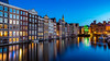 Living on the edge (Artur Tomaz Photography) Tags: colors blue city pattern windows bluehour amesterdam buildings arquitecture mirror butterflyeffect water channel boat light