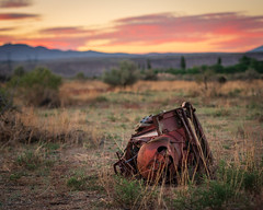Rusty Turbo-encabulator (dwblakey) Tags: california sunset owensvalley landscape desert sky easternsierra bishop rusty rust outdoors inyocounty evening junk walk unitedstates us