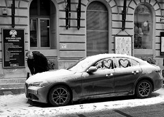 I Love My Car (tcees) Tags: aranyjánosst budapest hungary pest streetphotography cars street urban sidewalk pavement car bw mono monochrome blackandwhite nikon d5200 1855mm building windows grill ballons sign winter cold freeze freezing snow snowing men people alfaromeo
