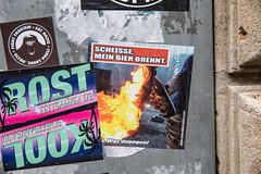 Scheiße mein Bier brennt.. hell, my beer is on fire (Rasande Tyskar) Tags: hamburg street strase streetshot sticker astra mein bier brennt scheise molli molotov coctail fire beer antifa