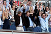 Their Royal Highnesses Prince William and Prince Harry and guests Chelsy Davy and Kate Middleton join guests in the royal box in performing a Mexican wave during the Concert for Diana at Wembley Stadium on July 1, 2007 in London, England. (Photo by Getty Images/Getty Images)