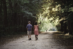(Rebecca812) Tags: forest path woodedarea trees nature boy girl brother sister walkingaway sunlight day candid people portrait childhood child canon togetherness twopeople summer idyllic awayfromitall rebeccanelson rebecca812