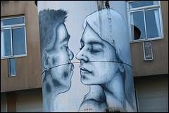 Zabou (Chrixcel) Tags: love kiss baiser amour graff graffiti tag streetart peinture pochoir painting bisou bise embrasser blackboy whitegirl