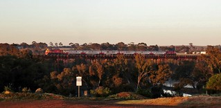 P15-train-P14 cross the Melton Weir with the 7am Bacchus Marsh to Melbourne commuter service.