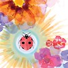 She's a Lady of The Summer (DobingDesign) Tags: illustration watercolour ladybird insects bug flowers drawing colours petals organic summertime