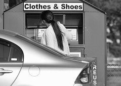 donating. b&w (henulyphoto) Tags: lady woman girll female box oldclothes car hair sign donation recycle used reuse