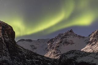 Aurora borealis above snowy mountains