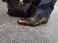 Businessman's fancy dress shoes 01 (TBTAOTW2011) Tags: businessman business man daddy dad old mature grey gray belly suit shirt pants socks leather dress shoe shoes burgundy brown ostrich white silver fox glasses feet foot hidden camera candid