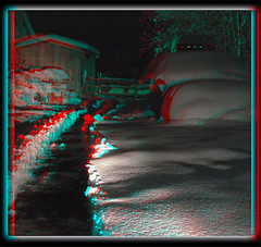 The Cold Dark Path - Anaglyph 3D (DarkOnus) Tags: the cold dark path pennsylvania buckscounty huawei mate8 cell phone 3d stereogram stereography stereo darkonus snow snowy horse eerie scary anaglyph