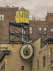 "Artistic Rooftop Water Tower and Clock in Union Square Area (nrhodesphotos(the_eye_of_the_moment)) Tags: p51700493001084 ""theeyeofthemoment21gmailcom"" ""wwwflickrcomphotostheeyeofthemoment"" streetscene unionsquarearea clock watertower artistic buildings outdoors windows sky rooftop metal ladder"