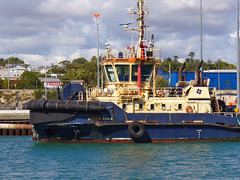 20 April 2018 - View from our tour boat MV JAMES STIRLING towards the heavy tugboat SVITZER EAGLE in Port Fremantle, Perth, Western Australia (aussiejeff) Tags: 2018 mv jamesstirling svitzereagle tug portfremantle perth wa westernaustralia australia swanriver vessel boat wharf dock river water sun aussiejeff jeffc panasonic dmc lz2 lumix work heavy