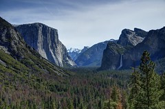 Yosemite Valley (Craig Stevens <castevens12>) Tags: yosemitevalley yosemitenationalpark yosemitenps elcapitan cathedralpeak cathedralrocks bridalveilfalls bridalveilfall halfdome mountains mountain rocks clouds overcast sun sunny sunlight bluesky trees redwoodtrees spring springtime april tokina1116mmf28 nikond7000 hdr highdynamicrange snow melting morning empty landscape wideangle tunnelview wawonaroad artistpoint trail hike hiking