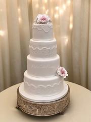 Wedding Cake 'Chloe' (Relznik) Tags: wedding cake weddingcake 4tier roses sugarroses duskypink applique wrap lace pearls royalicing