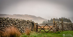8th May 2018 (Rob Sutherland) Tags: duddon valley cumbria cumbrian lakes lakeland lakedistrict uk england english britain british farm farming land agriculture agricultural gate wall wooden stone dry rain raining grass field upland hill fell footpath sign post signpost