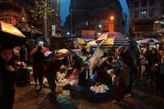 Street Market in Kathmandu, Nepal '15 (lukas kozmus) Tags: nepal kathmandu market markt street streetmarket lukaskozmus sonyalphy sony sonya77 a77 low light nighttime asia asienn rain regen umbrella nightscene