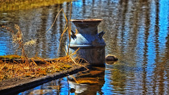 So .... Where's the Ark ?? (Bob's Digital Eye) Tags: abstract april2018 bobsdigitaleye canon canonefs55250mmf456isstm depthoffield flicker flickr flood h2o metal milkchurn rust rusty spring2018 springthaw t3i water