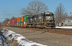 Some Lingering Snow (craigsanders429) Tags: olmstedfallsohio norfolksoutherntrains norfolksouthern stacktrains nsstacktrains nsstacktrain nschicagoline