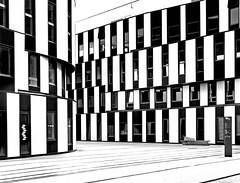 WU campus (heinzkren) Tags: building gebäude architektur architecture blackandwhite schwarzweis bw sw monochrome panasonic lumix wien vienna austria bibliothek colleg design lines libray economicuniversity geometrie geometry texture pattern muster facade fassade