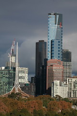 Victorian Entertainment Centre and Eureka One Tower on Southbank, Melbourne city in May 2018, Victoria, Australia. (Michael J. Barritt) Tags: citystreets streetart melbourne city may 2018 victoria australia