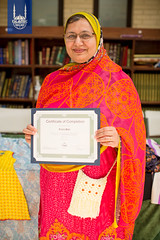 Fozia Bibi with her certificate of completion of the sewing academy, a project funded by Islamic Relief USA.