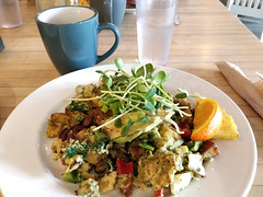 Hash special at Gabriel's Gourmet Cafe (Ruth and Dave) Tags: gabrielsgourmetcafe nanaimo cafe restaurant hash breakfast brunch vegetables potatoes eggs watercress
