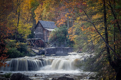 Glade Creek Grist Mill (donnieking1811) Tags: westvirginia clifftop babcockstatepark gladecreekgristmill park mill stream waterfalls trees leaves autumn fall waterwheel rocks building canon 60d lightroom