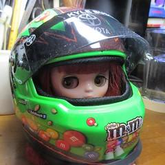 Nearly the right size. (jefalump) Tags: takara blythe middie furrybellabo nascar kylebusch helmet modelcar