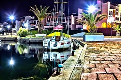 Calm night (BadGunman) Tags: light nuit 50mmf18 canon longexposure night water tree palmtree palm southof southoffrance hdr voilier sailing boat sea  france pyrénéesorientales pyrenneesorientales lacoudalere coudalere electrobeach barcares