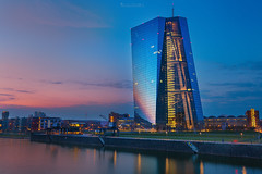 European Central Bank (oliver.herbold) Tags: europeancentralbank ecb ezb skyline frankfurt mainhattan germany deutschland evening abend deutschherrnbrücke hafenpark photography fotografie sunset sonnenuntergang colors farben sky himmel fluss river main reflections spiegelung spiegelungen light lights licht lichter longexposure langzeitbelichtung filters filter oliverherbold