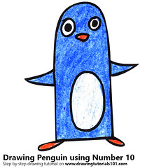 Penguin using Number 10 (drawingtutorials101.com) Tags: penguin using number 10 animals with numbers animal penguins how draw color drawing drawings colors coloring sketch sketches pencil pencils