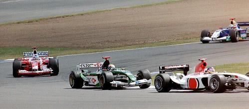 Jacques Villeneuve - BAR 005, Mark Webber - Jaguar R4, Olivier Panis - Toyota TF103 and Nick Heidfeld - Sauber C22 at Brooklands