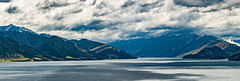 Lakeside Pano (Ron Scubadiver's Wild Life) Tags: newzealand stitched pano nikon south island lake mountains clouds water landscape 24120 snow