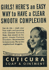 1946 Skin Care Ad, Cuticura Soap Ointment (classic_film) Tags: 1940s forties 1946 añejo advertising advert ad american advertisement ads printad publicidad publicité magazine vintage retro revista reklame época ephemeral classic clásico commercialism consumerism old alt america anuncio anzeige unitedstates usa grooming girl skincare soap face cleaning cleanser