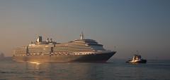 Queen Victoria in the rising sun (pe_ha45) Tags: queenvictoria kreuzfahrtschiff cruiseship bateaudecroisière navedecrociesa cunard venedig venezia venice venise serenissima