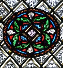 Bibury, Gloucestershire - St Mary's Church - Stained Glass (Glass Angel) Tags: bibury gloucestershire stainedglasswindow stmaryschurch williamwailes