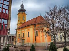 Orange Church 036TMD1 (Andras Fulop) Tags: hodmezovasarhely hungary nikon p7700 church kirche orange yellow building architecture