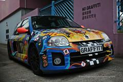 Renault, Clio V6 Mki, Kowloon Bay, Hong Kong (Daryl Chapman Photography) Tags: graffiti graff1t1 renault clio v6 mki canon 5d mkiii 35mm f14 art sigma auto autosautomobile automobiles car cars carspotting carphotography kowloonbay