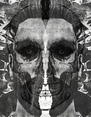 Demon and Form Deranged (v NaTaS v) Tags: goth gothic skull skeleton dark monotone blackandwhite face portrait